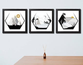 Scandinavian Art - Scandinavian Modern - Scandinavian Print - Scandi Print - Scandinavian Design - Wall Art - Scandi Design - Set of Three