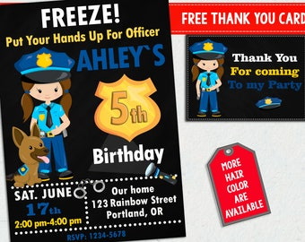 Police invitation for girls + Thank you cards Officer 1st birthday party invitations Party decorations Cops and robbers invites with dog