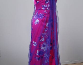 Pink prom or formal dress with purple and white flowers - Aubrey
