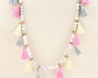 Multi Color Beaded Tassel Long Necklace