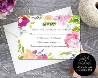 Editable Wedding Rsvp, Printable Wedding Rsvp, Template, Editable Wedding Rsvp, DIY Rsvp, PDF Rsvp, Watercolor Flowers Border 6 RSVP-6