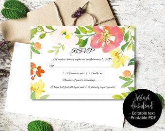 Wedding Rsvp Template Editable, Printable Wedding Rsvp, Editable Wedding Rsvp, DIY Rsvp, PDF Rsvp, Watercolor Flowers Border 8 RSVP-8