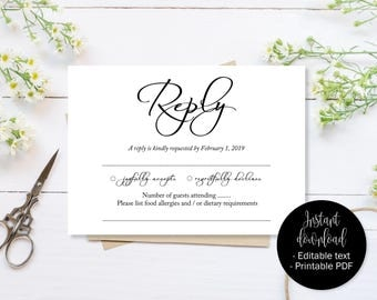 Wedding RSVP Cards, Reply Attendance Enclosure Cards, RSVP Template Editable, Printable Wedding Postcard Download, Simple RSVP Insert Cards