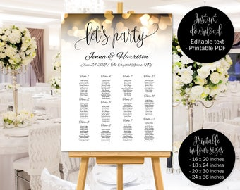Gold Wedding Seating Chart Template, Let's Party Wedding Seat Plan Printable, Gold Hearts Wedding Table Plan, Table Plan, Seating Chart Plan