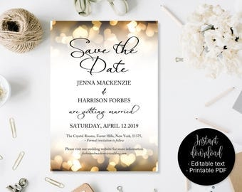 Gold Wedding Save the Date, Gold Hearts Save the Date, Wedding Save the Date Template, Save the Date Cards, Save the Date Wedding Printable