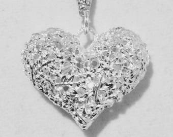 Sterling Silver Heart Ball Necklace