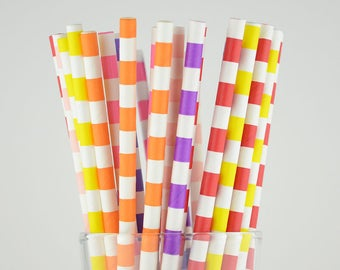 Mix Colors Circle Paper Straws - Yellow/Pink/Orange/Red/Hot Pink/Purple/Violet - Party Decor Supply - Cake Pop Sticks - Party Favor