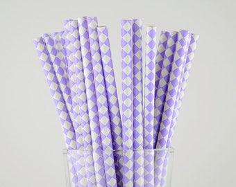 Purple Diamond Paper Straws - Mason Jar Straws - Party Decor Supply - Cake Pop Sticks - Party Favor