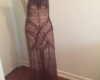 Vintage 1930s Lace Evening Gown
