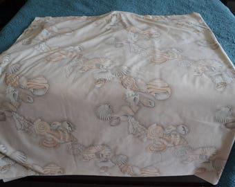 Vintage Sheet Wamsutta Beach Seashells Beige Cream Double Percale