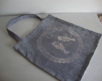 Tote bag, tote bag, recycled vintage sheet sur-teint gray birds.