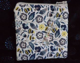 Handcrafted quilted Coin purse in classic cotton liberty fabric print, fully lined with zipper charm