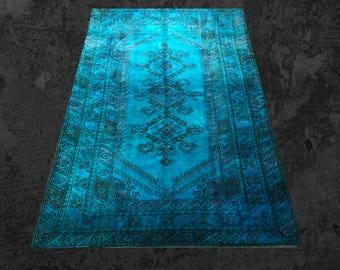 Overdyed Rug, Turquoise Blue Rug, Handmade Oushak Rug, Vintage Turkish Rug, Overdyed with Perfect Condition, Bohemian Rug Anatolian Blue Rug