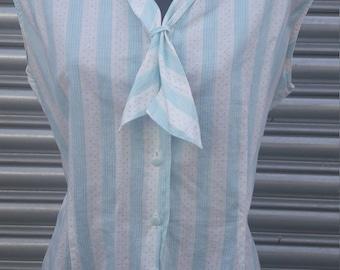 1950s blue stripe blouse