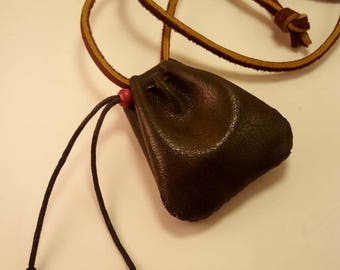 Recycled Leather Medicine Pouch - Side Drawstring Closure