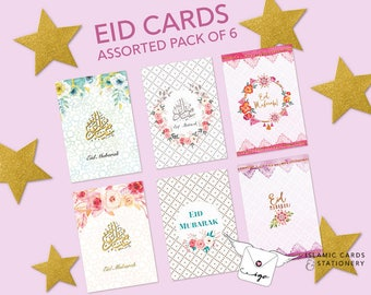 Floral Eid cards | assorted pack of 6 flowery Eid mubarak cards