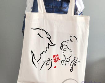 Beauty and the Beast Inspired Cotton Tote Bag