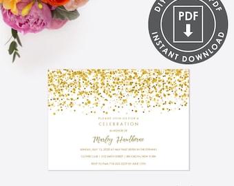 Gold Glitter Invite Etsy