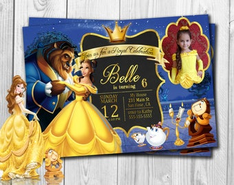 Beauty and The Beast Invitation, Beauty and The Beast Birthday Invitation , Beauty and The Beast,