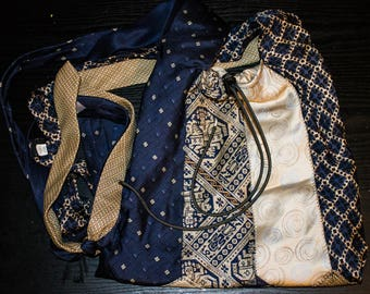 Handmade Repurposed Necktie Purse Blue and Gold Recycled
