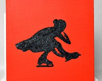 Figure Skater Painting - Sit Spin 10x10