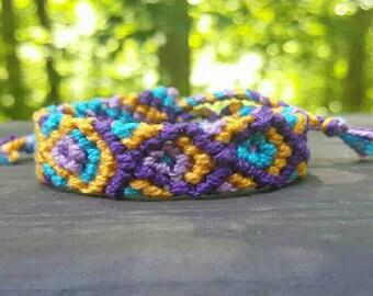 Vibrant Purple, blue and yellow macrame bracelet