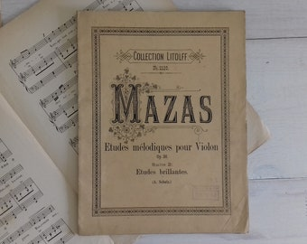 Melodic studies for Violin by f Mazas - Op. 36 collection Littolf - Paris France 1930