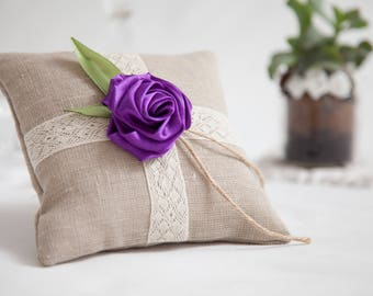 Cotton lace linen ring bearer pillow with handmade violet rose, Wedding Ring Pillow, Wedding Pillow, Lace Ring Pillow, Rustic, Ring Cushion