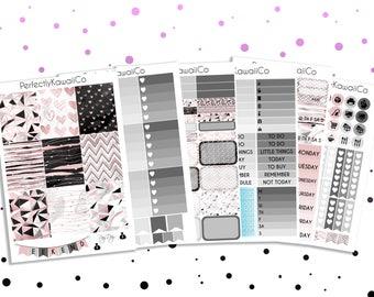 ECV12 Abnormally Pink & Black - Weekly Kit For Erin Condren Vertical Planner