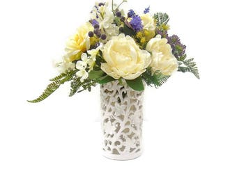 Cream and Rose, Silk Table Arrangement Free Delivery