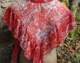 Red felted silk chiffon shawl