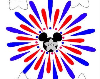 Mickey Firework Iron On Transfer