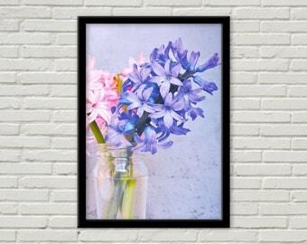 Handmade Blue Hyacinth in a Vase colour print