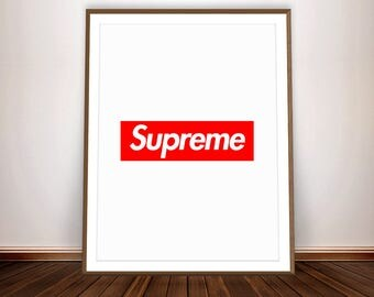 Digital Print * Supreme Poster Supreme Box Logo Vogue Poster Supreme Art Supreme Print Red Art Supreme Wall Art Fashion Poster Printable
