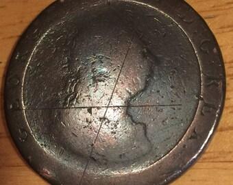 A large British 1797 King George III cartwheel penny coin