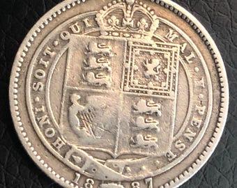 1887 .925 silver queen Victoria 1 shilling coin Jubilee head obverse
