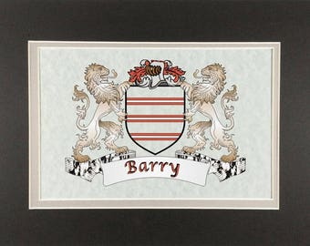 "Barry Irish Coat of Arms Print - Frameable 9"" x 12"""