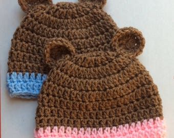 Infant Twin Boy/Girl Brown Bear Beanie Style Hat Set