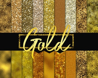 Gold foil digital papers, gold digital paper, dark gold foil, digital paper pack, gold background, gold texture, dark gold paper, rich gold