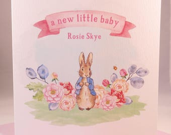 Peter Rabbit New Baby Girl Card