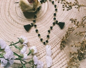 Raw quartz and black rosary necklace