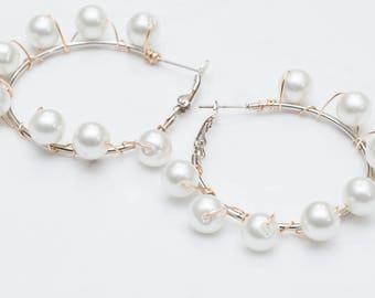 White Pearl Hoops
