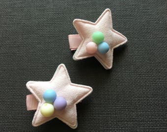 Pink Star Hair Clips, Baby Hair Clips, Hair Clips for Girls, Hair Accessory