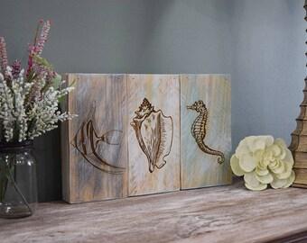 Engraved Pallet Wood Sign- Fish Seashell Seahorse Shadow Box | Housewarming | Gift | Home Decor | Beach Theme | Nautical | Coastal