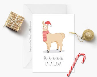 Llama Christmas Card | Cute Card | Christmas Greeting | Funny Christmas | Fa la la | Xmas Card | Animal Card | Merry Christmas | GCXCA606
