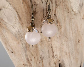 Earrings pink nude and bronze (BO110)