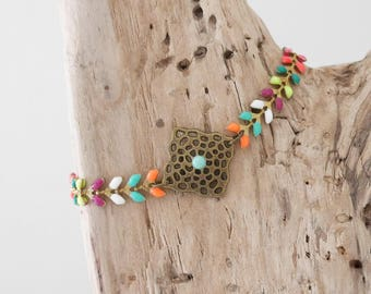 CLEARANCE Bracelet in bronze chain and Spike stitch enameled multicolored (BREP01AG)
