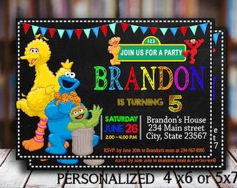 Sesame Street Invitation Sesame Street Birthday Invitation Personalized Custom Printable Digital Party Invitation Sesame Street Invitations