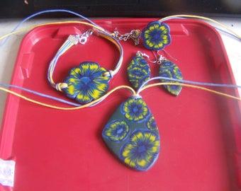 Fimo finery 4pcs blue and yellow
