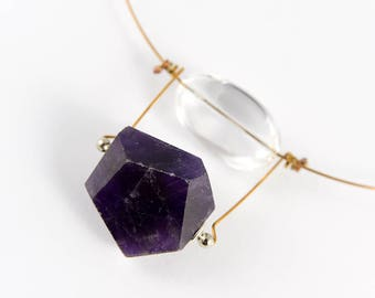 Amethyst pendant, Amethyst necklace, Handmade jewelry, Quartz jewelry, Gemstone necklace, Stone jewelry, Minimalist necklace, Bronze jewelry